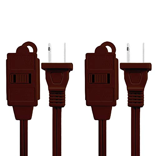 Uninex AC06BRNNV Household Extension Cord with Sliding Safety Covers, Brown, 6-Foot, 2-Pack ()
