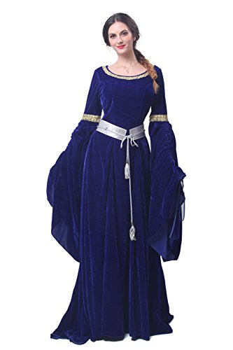 Damen Nuoqi GC209B Kleid NI Party Maxi Langarm Kleid FBA Kostüm Königin Mittelalterliche Hw7wfdq