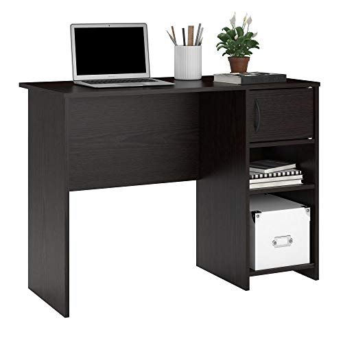 (Ameriwood Basics Collection Chocolate Oak Eli Computer Desk, Home Desk with Drawer and Cubby Combo, Made from Laminated Particleboard with Chocolate Oak Finish)
