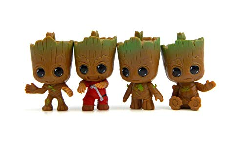 4pcs Lovely Mini Baby Groot Toys Bonsai Garden Small Ornament Landscape Home Car Decoration Dolls Gifts Qy