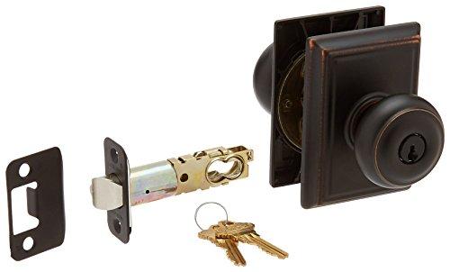 Schlage Lock Company F51AGEO716ADD Aged Bronze Georgian Keyed Entry F51A Panic Proof Door Knob with Addison Rosette