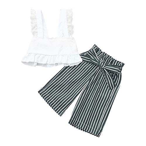 Rakkiss Girls Striped Outfits Set Ruffle Tops Sling Shirt Lace Vest Fashion Romper Cute Jumpsuit White -