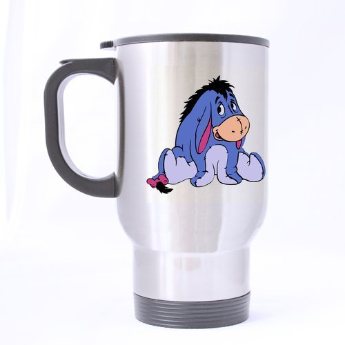 (Cute The Pooh Eeyore Customize Personalized Travel Mug Sports Bottle Coffee Mugs Silver 14 OZ Office Home Cup Two Sides Printed)