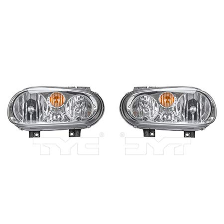 Fits 2002-2007 Volkswagen Golf Headlight Driver and Passenger Side Bulbs Included VW2502123 VW2503123 - Replaces 1J0 941 017 D, 1J0 941 018 D ;w/o fog lamps