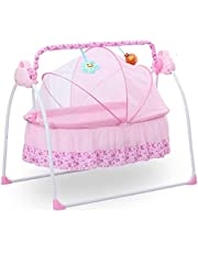 HITC Baby Cradle Swing Electric Stand, Baby Crib Cradle Auto Rocking Chair Newborns Bassinets Sleep Bed, Rocking Music Remoter Control Sleeping Basket Bed Newborns Sway Baby Swing