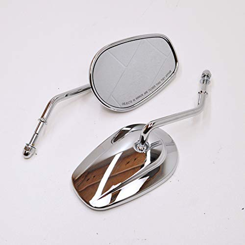 CHROME OEM Style Tapered Mirrors with SHORT STEMS and Convex Mirrors for ALL Harley Models - Motorcycle Chopper Bobber (Mirrors Custom Motorcycle Stem)