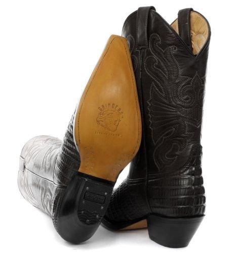 Grinders Carolina Negro Croc estilo de cuero botas de vaquero de la cola de inicio