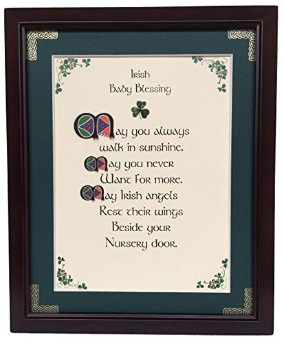 Irish Baby Blessing - May You Always - Personalizable Framed Green Matted Blessing