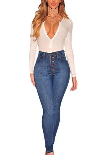 Lavage Sur Pantalons Les Un Pantalon En Taille Femmes Haute Legging LightBlue Des Jean cxzOxnw