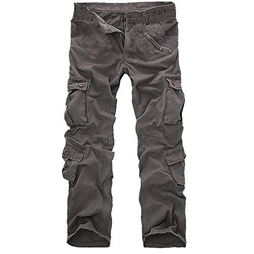 Plusieurs De Salopette Décontracté À Homme En Avec Pour Hommes Gris Long Couleur Unie kinlene Poches Cargo Coton Pantalon HqwIf5dq