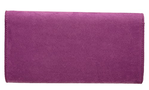 SwankySwans - Sabrina Suede Look Party Prom Clutch Bag, Sacchetto Donna Purple