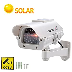 YSUCAU Solar Powered CCTV Security Fake Dummy Camera With Flashing Led Outdoor/Indoor Use for Homes & Business by YSUCAU