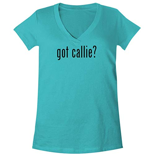 The Town Butler got Callie? - A Soft & Comfortable Women's V-Neck T-Shirt, Aqua, Medium