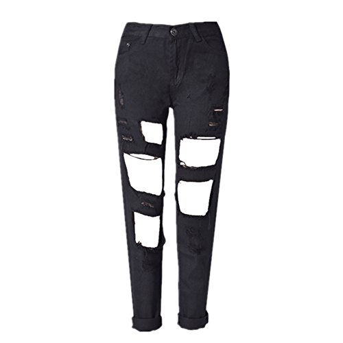 Color Tricolore Trou L Size Grossartig White Black Droit Denim Jeans Femme OqfapxCwtY