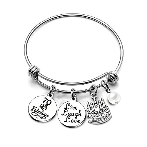 AGR8T Bangle Bracelets Gifts Her Happy Birthday Bangles Cake Live Laugh Love Charms Women Girl (70th Birthday) ()