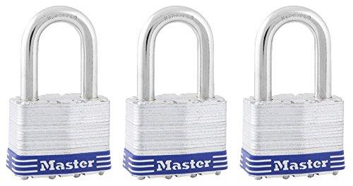 Master Lock 5TRILFPF Keyed-Alike Wide Laminated Pin Tumbler Padlocks, 2-inch, 3-Pack ()