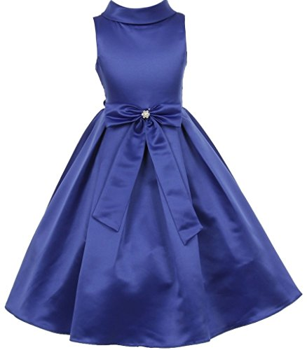 Big Girls' Bridal Dull Satin Bow Rhinestone Flowers Girls Dresses Royal Size 12 ()