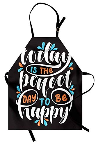WAZZIT Quote Apron Today is The Perfect Day to be Happy Phrase Inspirational Lettering Kitchen Bib Apron Unisex with Neck Strap for Cooking Baking Barbecuing, Seal Brown Orange and - Apron Bbq Orange