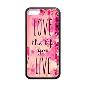Pink Hipster Love the Life You Live Quote Apple Iphone 5C Case Cover TPU Laser Technology Wildflower Field
