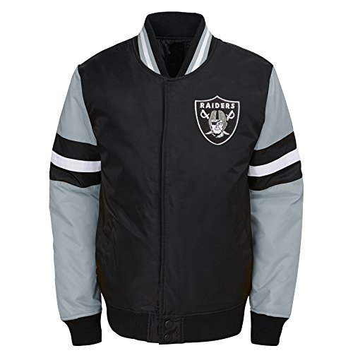 NFL Oakland Raiders Youth Boys Legendary Color Blocked Varsity Jacket Black, Youth ()
