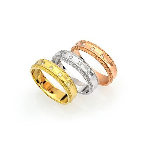 - 14k tri color gold high polished gold with textured edge wedding band with diamonds