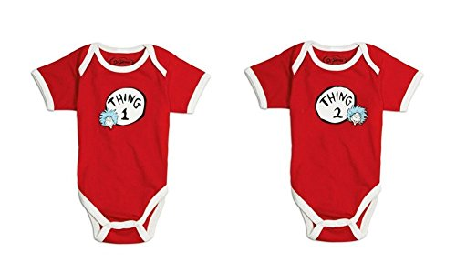 Bumkins Dr. Seuss Thing 1/2 Classic Short Sleeve Bodysuits (3 ()