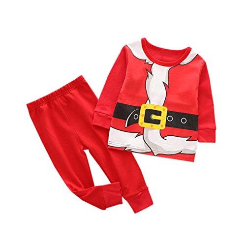 2Pcs Kids Christmas Costume Set Tops +Pants (Red) - 8