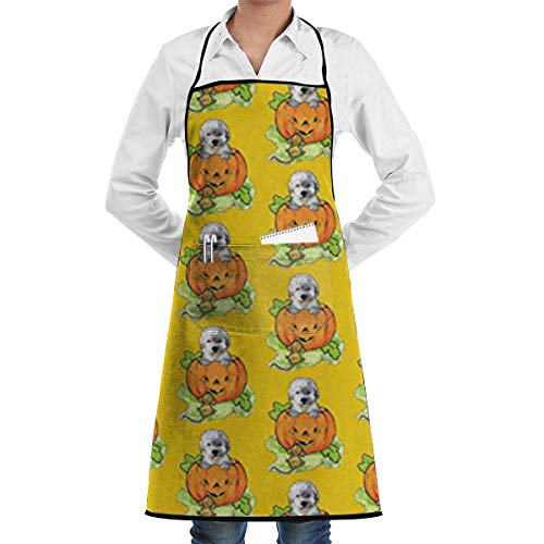 HGDGF Variety Apron Professionally Eco-Friendly Halloween Labradoodle Puppy Adjustable Bib Apron with Pockets - Commercial Restaurant and Home Kitchen Apron - Neck Strap- Extra Long Ties - Strong Blac from HGDGF Variety