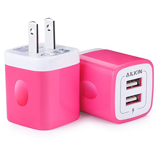 Charger Plug, USB Wall Charger, Ailkin USB Charging Block Base Box Cube Outlet Adapter Replacement for LG, Samsung Galaxy, Kindle, Moto, HuaWei, HTC, ZTE, XiaoMi, iPhone and more USB Charger Brick
