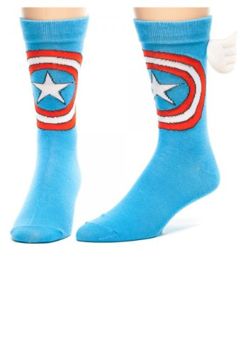 Marvel Captain America w/ Wings Crew Socks