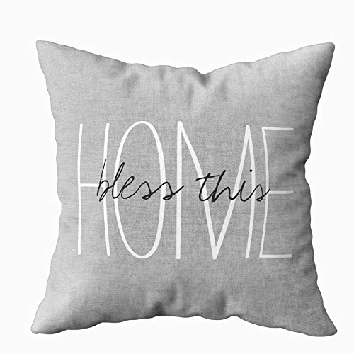 Capsceoll Art Pillow Case, Rustic Gray Bless This Home Lumbar 20x20 Pillow Covers,Home Decoration Pillow Cases Zippered Covers Cushion for Sofa Couch
