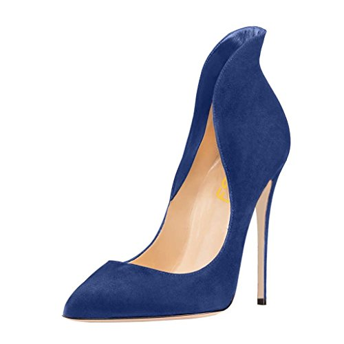 FSJ Women Sexy Prom Pumps Pointy Toe High Heels Dress Shoes Stilettos Size 6 Blue