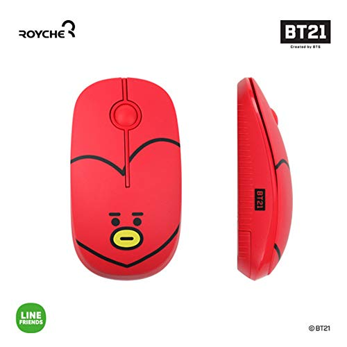 BT21 Figure Wireless Silent Mouse by Royche (Red(TATA))
