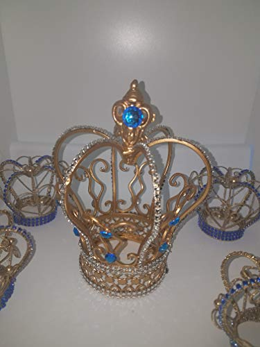 Gold and Royal Blue Jeweled Wire Crown -