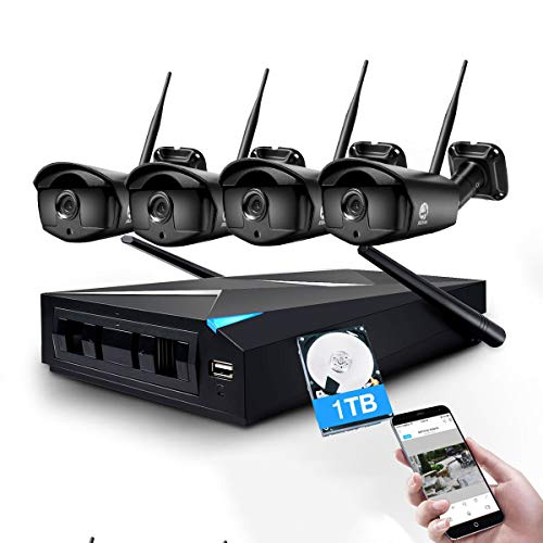 Tracking System Sales - Wireless Security Camera System, JOOAN 1.3MP 4 x 960P WiFi Cameras 4CH WiFi NVR Wireless Security CCTV Surveillance Systems Remote and Monitor Plug and Play Indoor/Outdoor - with 1TB Hard Drive
