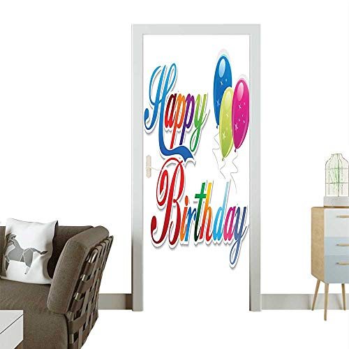 Homesonne 3D Door Decals Modern Colorful Writing Ballo Lovely Romantic Multicolor Self Adhesive Door DecalW23.6 x H78.7 INCH