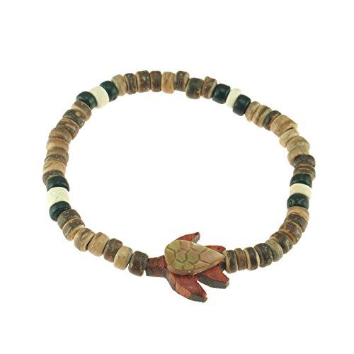 Coconut Stretch Bracelet Shell (Shell & Wood Sea Turtle on Stretch Elastic Coconut Wood Beaded Bracelet (Tiger))
