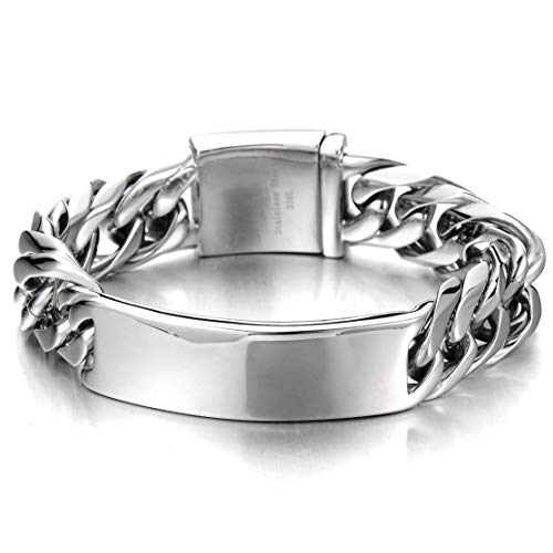 COOLSTEELANDBEYOND Masculine Curb Chain ID Identificaiton Bracelet for Men Stainless Steel High Polished