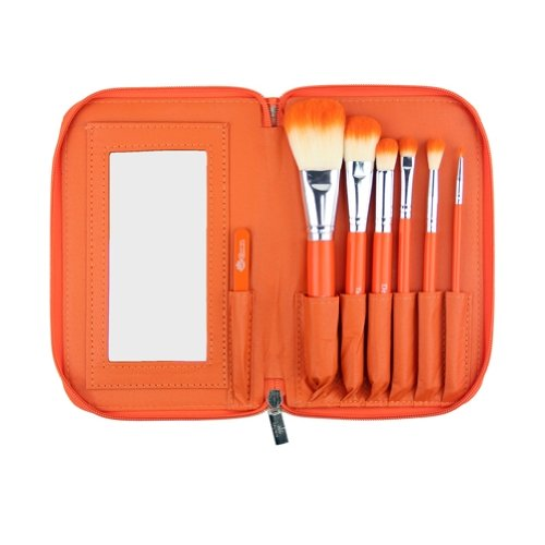 Orange High Definition Makeup Brush Set w/ Mirror and Tweezers