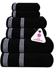 Casa Copenhagen Solitaire Luxury Hotel & Spa Quality, 600 GSM Egyptian Cotton, 6 Piece Turkish Towel Set, Includes 2 Bath Towels, 2 Hand Towels, 2 Washcloths, Dark Black