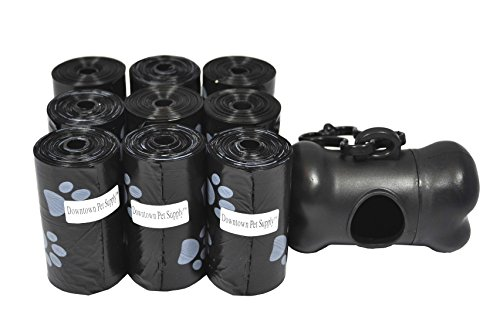 180, 220, 500, 700, 880, 960, 2200 Dog Pet Waste Poop Bags, Bulk roll,Clean up refills-(Green, Blue, Purple, Red, Black, Pink,Rainbow of Colors or Paw Print)+FREE Bone Dispenser,Downtown Pet Supply