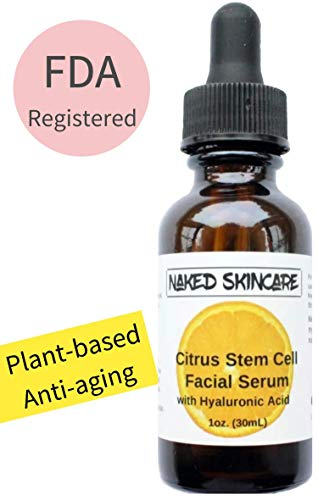 (Naked Skincare - Citrus Stem Cell Serum with Hyaluronic Acid 1oz – FDA registered, Best Natural Anti-Aging Formula for Fine Lines, Wrinkles. Deep Hydrating and Moisturizing, Fragrance-free, for face.)