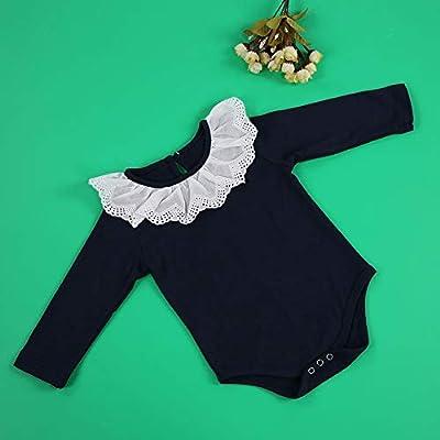 66-Azul marino Baby Girl Body de manga larga de encaje Collar de algod/ón Baby Romper Jumpsuit Reci/én nacido Trajes Ropa para ni/ños peque/ños 0-24 meses