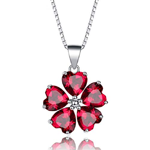 Red Heart Necklaces & Pendants Cubic Zirconia Pendant Necklace Women 925 Sterling Silver Jewelry With Box Chain Red Platinum Plated 45cm