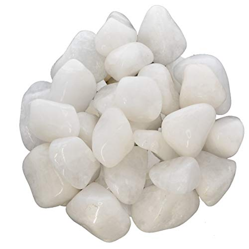 Hypnotic Gems Materials: 1 lb Milky Quartz Tumbled Stones - Grade 1 - Medium - 1