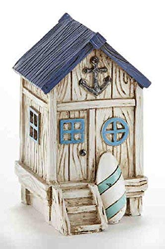 Delton Products 3.5 inches x 3.4 inches Resin Beach House Collectible Figurine Blue, Ivory