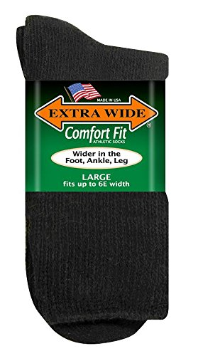 - Extra Wide Athletic Socks Black, 2X Fits shoe sizes 16 - 21, Style #7250