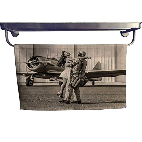 alisoso Vintage Airplane Decor Sports Towel Set Brunette Young Woman Hugging a Pilot Historic Aircraft Homecoming Image Handkerchief Set W 12