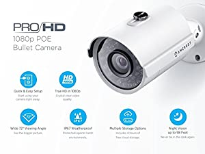 3-Pack Amcrest ProHD Outdoor 1080P POE Bullet IP Security Camera - IP67 Weatherproof, 1080P (1920 TVL), IP2M-842E (White) from Amcrest