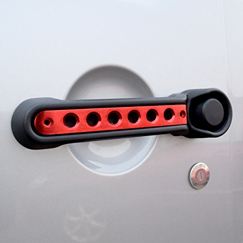 [DIYTuning Red Aluminum Front Rear Door Grab Handle Inserts Cover for Jeep Wrangler JK JKU Unlimited Rubicon Sahara Accessories Parts 2007 2008 2009 2010 2011 2012 2013 2014 2015 2016 2017 3pcs] (Aluminum Tailgate Handles)